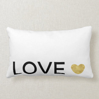 Love Gold Heart Lumbar Pillow