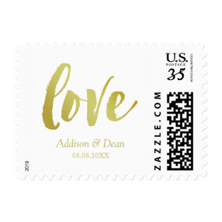 Love | Gold & White | Custom Names & Date Postage