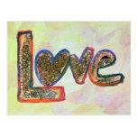 Love Golden Pastels Art Painting Postcard
