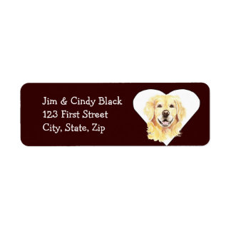 Love Golden Retriever  Dog Address Label