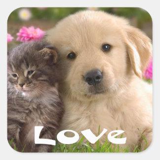 Love Golden Retriever Puppy And Kitten Stickers