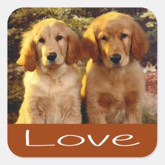 Love Golden Retriever Puppy Dog Brown Stickers