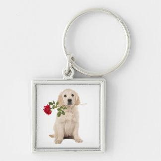 Love Golden Retriever Puppy Dog Red Rose Keychain