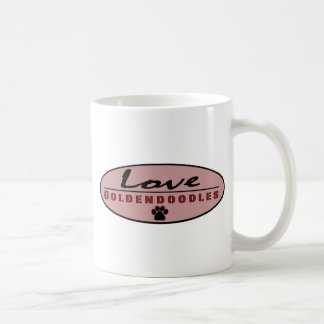 love goldendoodles with pale red background classic white coffee mug