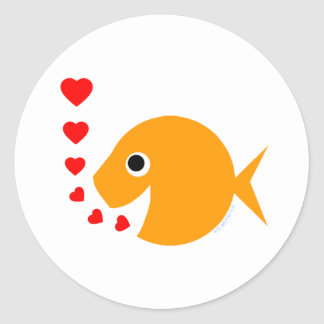 Love Goldfish Tiny Hearts Cute Valentine's Day Classic Round Sticker