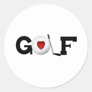 Love Golf Classic Round Sticker