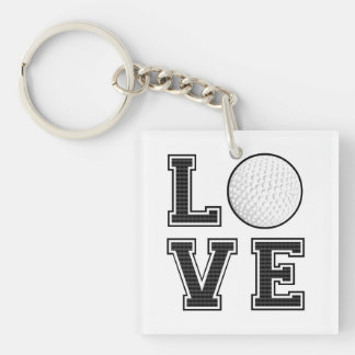 Love Golf Double-Sided Square Acrylic Keychain