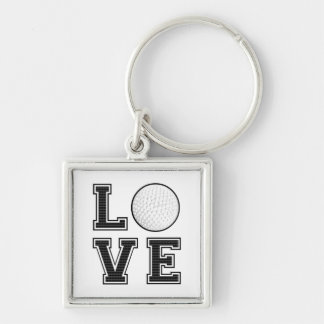 Love Golf Silver-Colored Square Keychain