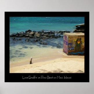 Love Graffiti at Paia Beach, Maui Posters