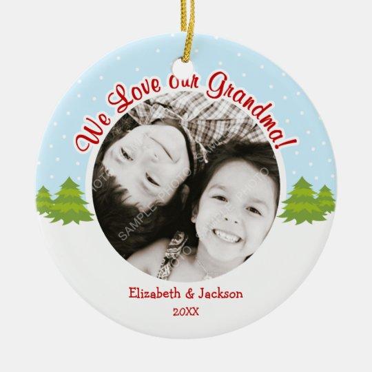 Love Grandma Christmas Tree Snow Photo Ceramic Ornament