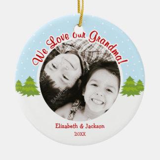 Love Grandma Christmas Tree Snow Photo Christmas Tree Ornament