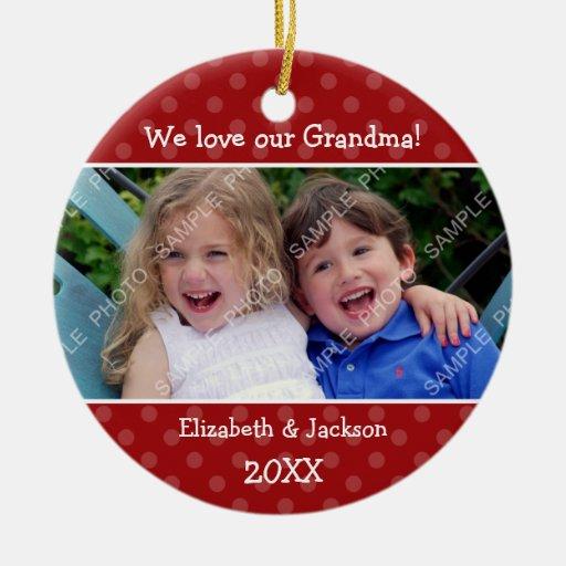 Love Grandma Red Polka Dot Christmas Photo Ceramic Ornament