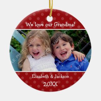 Love Grandma Red Polka Dot Christmas Photo Double-Sided Ceramic Round Christmas Ornament