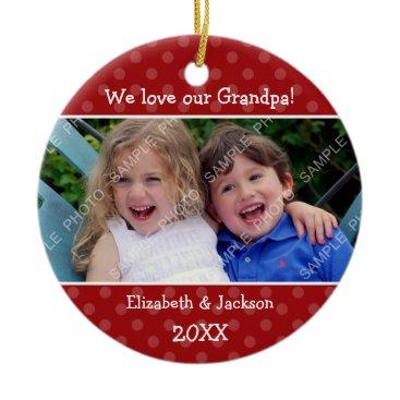 Christmas Themed Love Grandpa Red Polka Dot Christmas Photo Ceramic Ornament