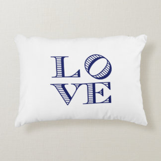 LOVE Graphic Text - Blue Accent Pillow