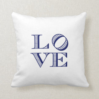 LOVE Graphic Text - Blue Throw Pillow