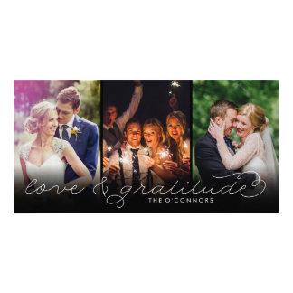 Love & Gratitude Wedding Thank You Photo Cards blk