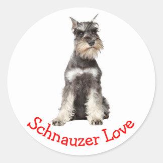 Love Gray Schnauzer Puppy Dog Sticker