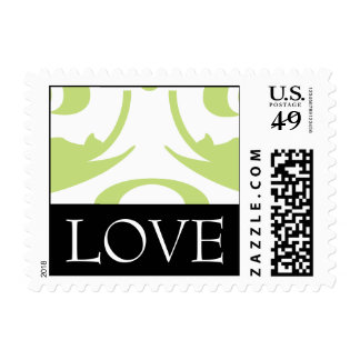 Love Green and White Damask Wedding Postage