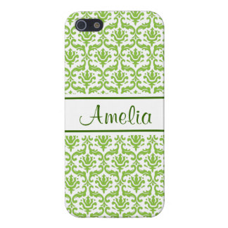 Love Green Damask Personalized iPhone 4 Case