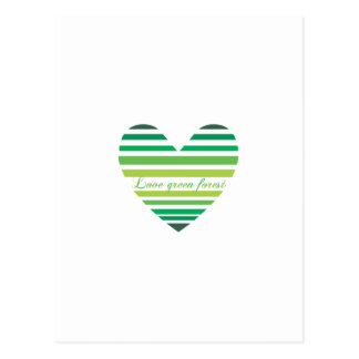 Love Green Forest Heart Post Cards