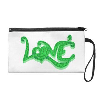 Love green wristlet purse