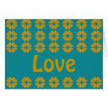 Love groovy retro greeting card