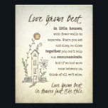 "Love Grows Best in Little Houses Photo Print<br><div class=""desc"">Love grows best in little houses with whimsical text and graphic.</div>"