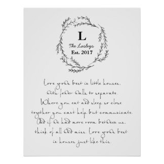 Love Grows Best In Small Houses Custom Poster