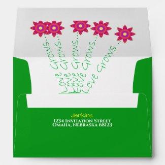 """Love Grows"" Bright Floral Wedding Envelopes"