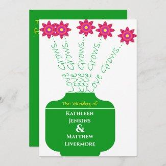 """Love Grows"" Bright Floral Wedding Invitation"