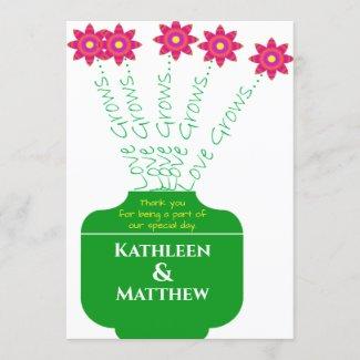 """Love Grows"" Bright Floral Wedding Programs"