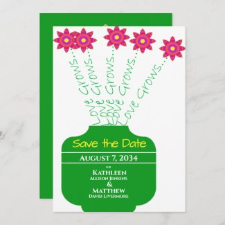 """""""Love Grows"""" Bright Floral Wedding Save the Date"""