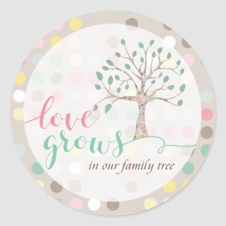 Love Grows In Our Family Tree Baby Shower Party Classic Round Sticker