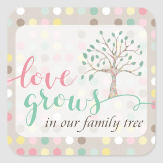Love Grows In Our Family Tree Baby Shower Party Square Sticker