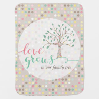 Love Grows In Our Family Tree Nursery Receiving Blanket