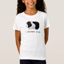 """Love Guinea Pigs"" Cute Black & White Guinea Pig T-Shirt"