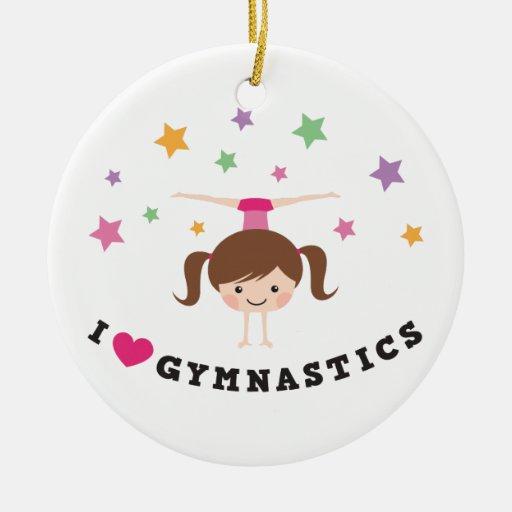 Love gymnastics cartoon girl brown hair handstand ornaments