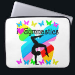 """LOVE GYMNASTICS FOREVER DESIGN LAPTOP SLEEVE<br><div class=""""desc"""">This wonderful Gymnast will tumble, flip, and fly for this inspiring I love Gymnastics design on Tees, Apparel, Home Decor, Jewelry and Gifts. This Gymnast believes all things are possible and she will become an International Gymnastics Champion. This unique and uplifting Gymnastics gift is perfect for Birthdays, Holidays, or any...</div>"""