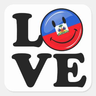 Love Haiti Smiling Flag Square Sticker