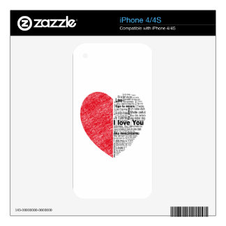 love, half color and text design heart skins for iPhone 4S