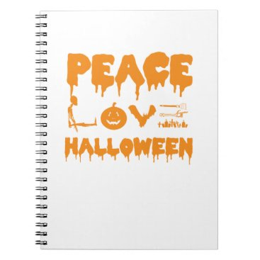 Halloween Themed Love Halloween costume tshirt with skeleton, bats Notebook