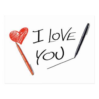 Love Hand Drawn Heart & Pen Post Card