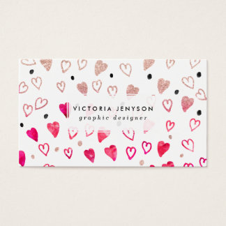 Love hand drawn hearts pink glitter watercolor business card