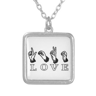 Love Hand Sign Custom Square Necklace