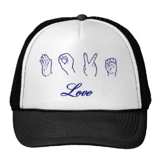 Love hand sign mesh hats