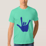 Love hand, sign language, in blue, tshirt