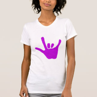 Love hand, sign language in purple, shirts
