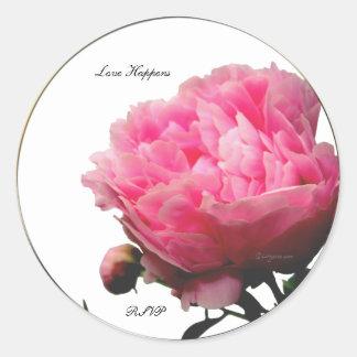 Love Happens Pink Peony Custom Envelope Seals Classic Round Sticker