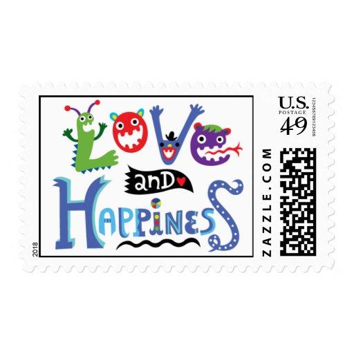 Love & Happiness monster cartoon stamp